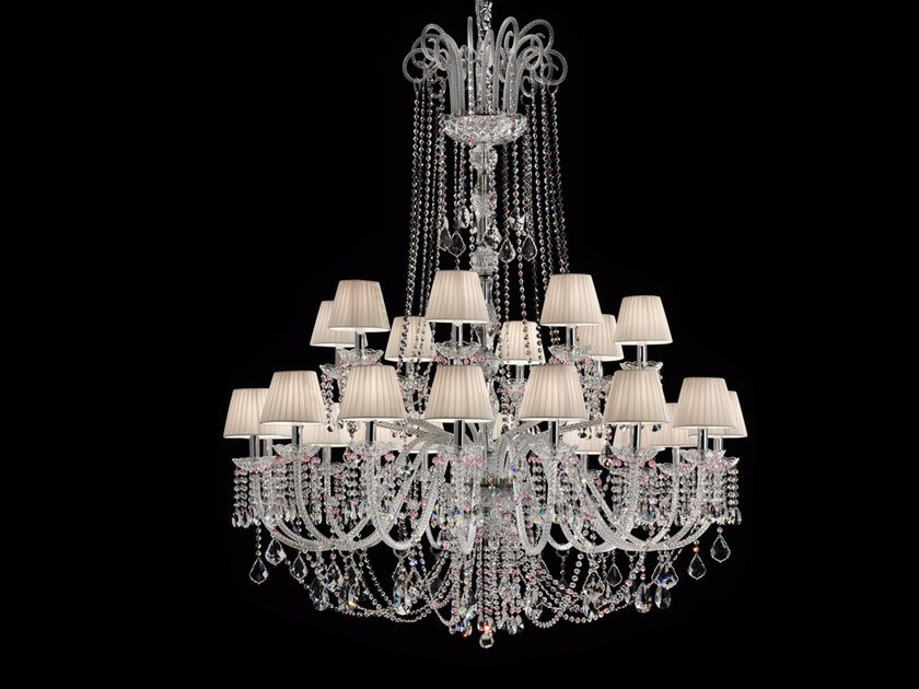 Direct light incandescent blown glass chandelier with crystals BOHEMIA VE 873 | Chandelier - Masiero