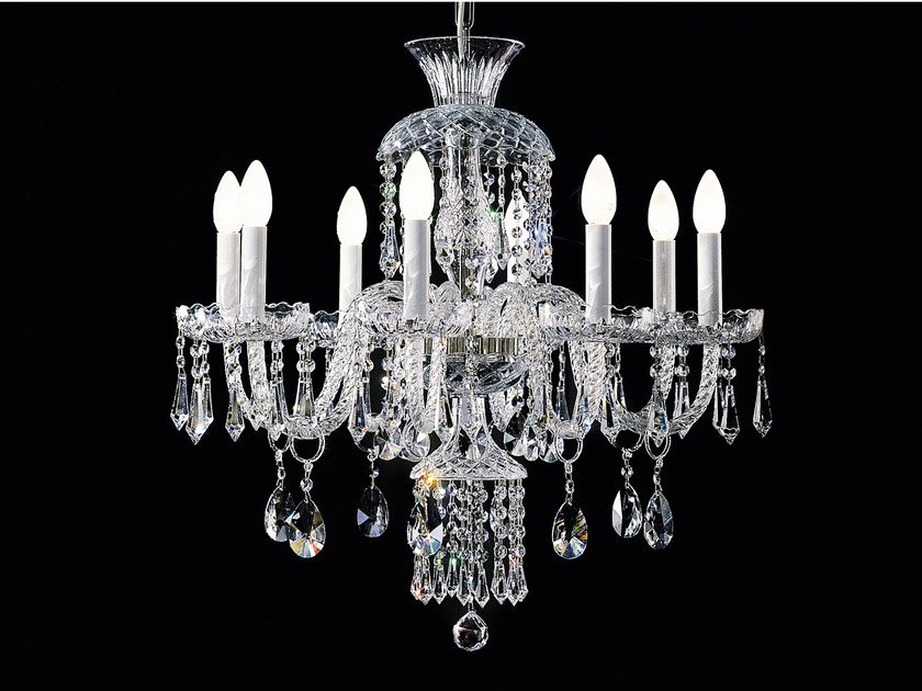 Direct light incandescent blown glass chandelier with crystals BOHEMIA VE 878 | Chandelier - Masiero