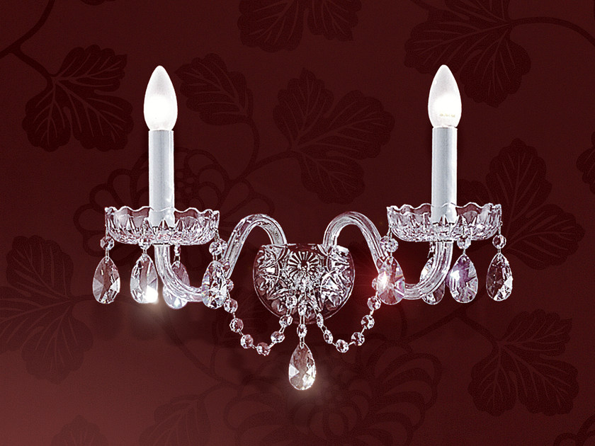 Direct light incandescent blown glass wall light with crystals BOHEMIA VE 878 | Wall light - Masiero
