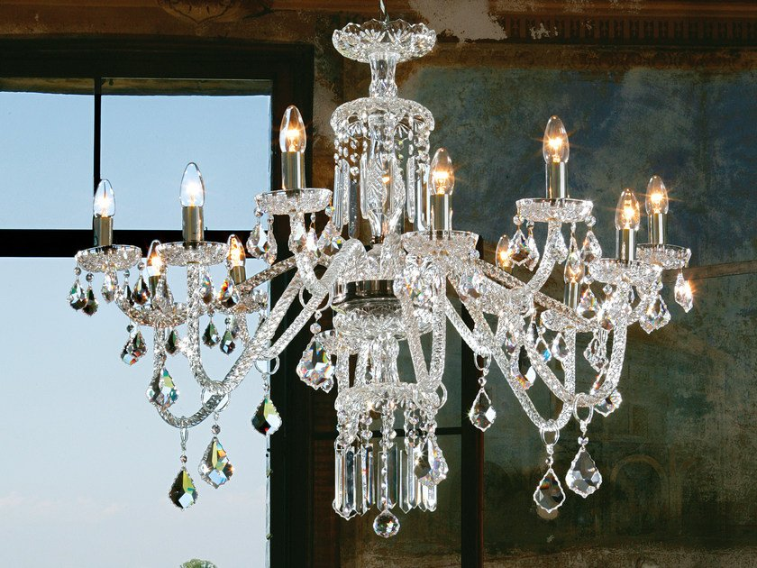 Direct light incandescent blown glass chandelier with crystals BOHEMIA VE 880 by Masiero