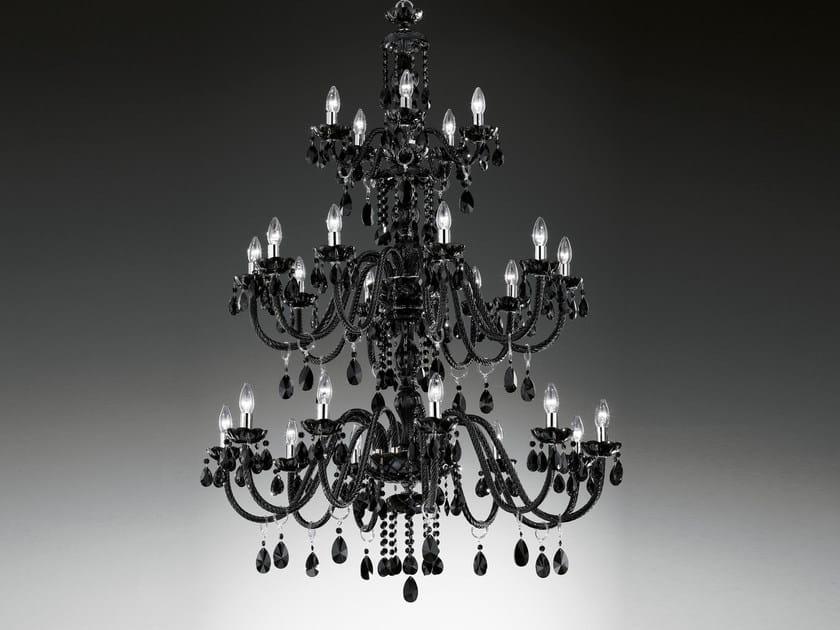 Lampadario a luce diretta incandescente in vetro soffiato con cristalli BOHEMIA VE 884 - Masiero