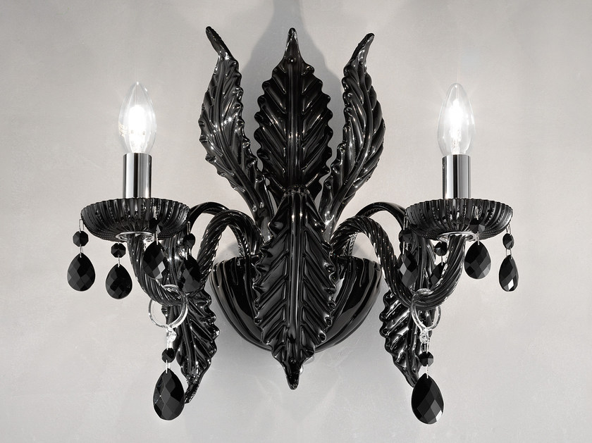 Direct light incandescent blown glass wall light with crystals BOHEMIA VE 887 | Wall light by Masiero