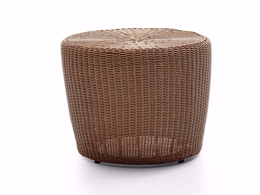 Round wicker garden side table BOLERO | Round coffee table - Varaschin