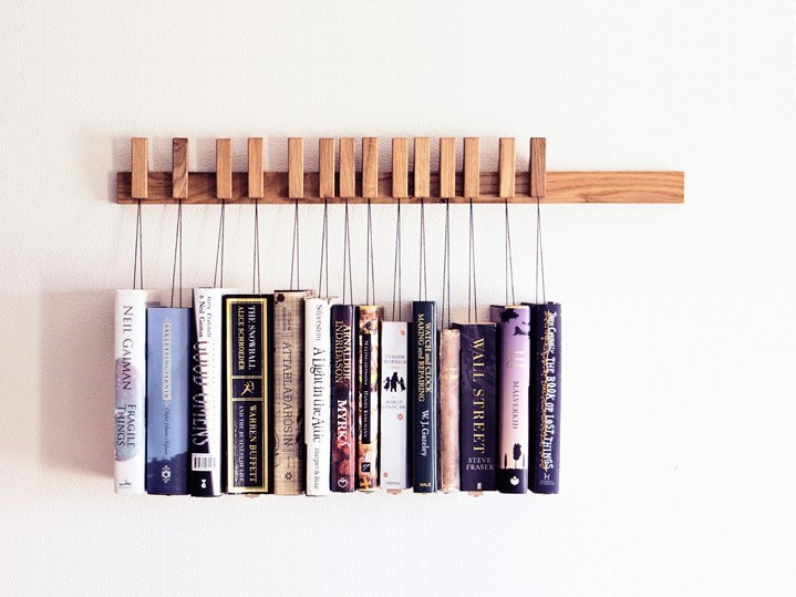 Wall-mounted solid wood bookcase BOOK RACK | Oak bookcase - AGUSTAV