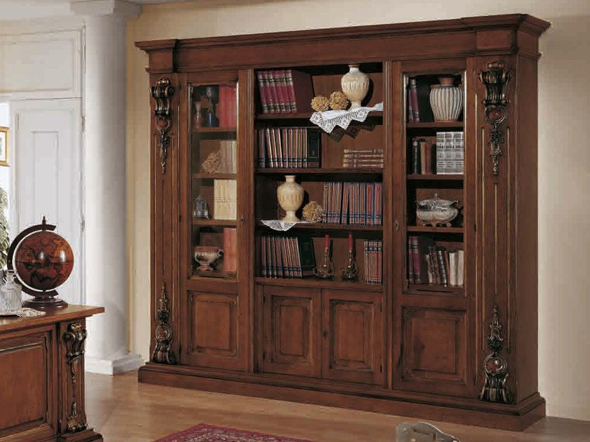 Freestanding solid wood bookcase MACCHIAVELLI | Bookcase - Arvestyle