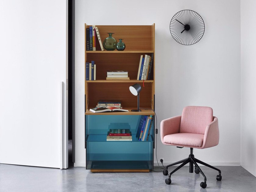 Open wood and glass bookcase HAMPTON | Bookcase - ROSET ITALIA