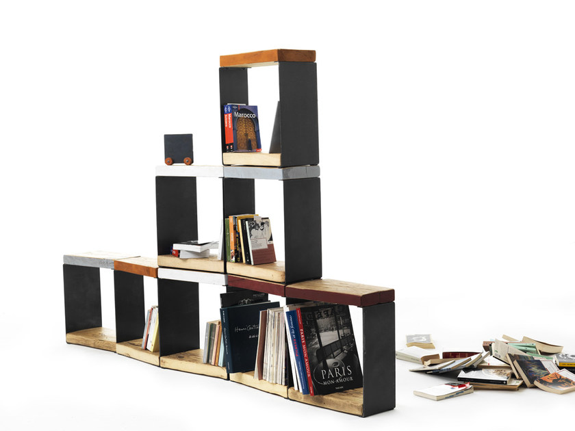 Open double-sided sectional spruce bookcase BORIS | Sectional bookcase by Vontree