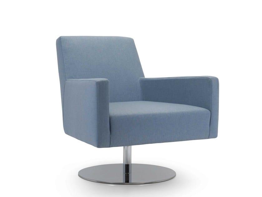 Swivel armchair with removable cover BOSTON LOW | Swivel armchair - Domingo Salotti