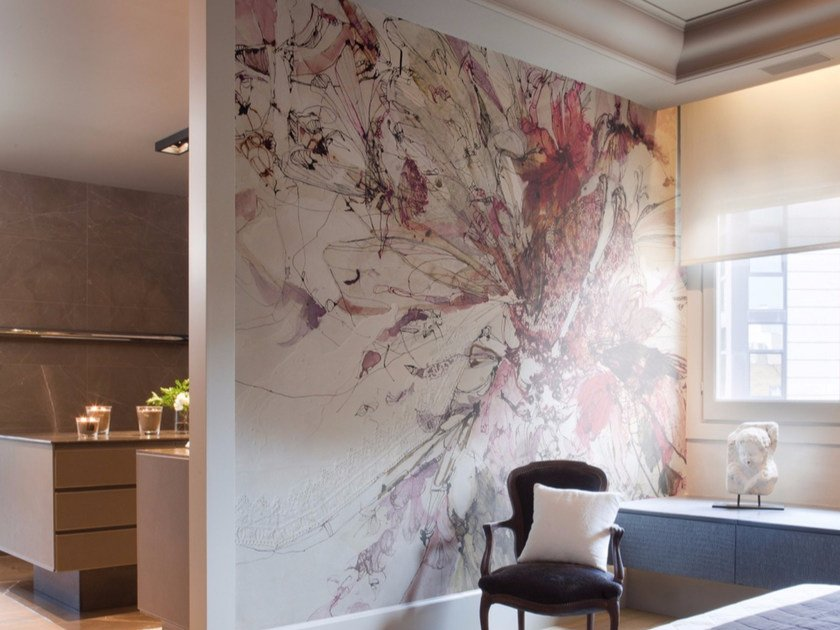Artistic wallpaper with floral pattern BOUDOIR II - Inkiostro Bianco