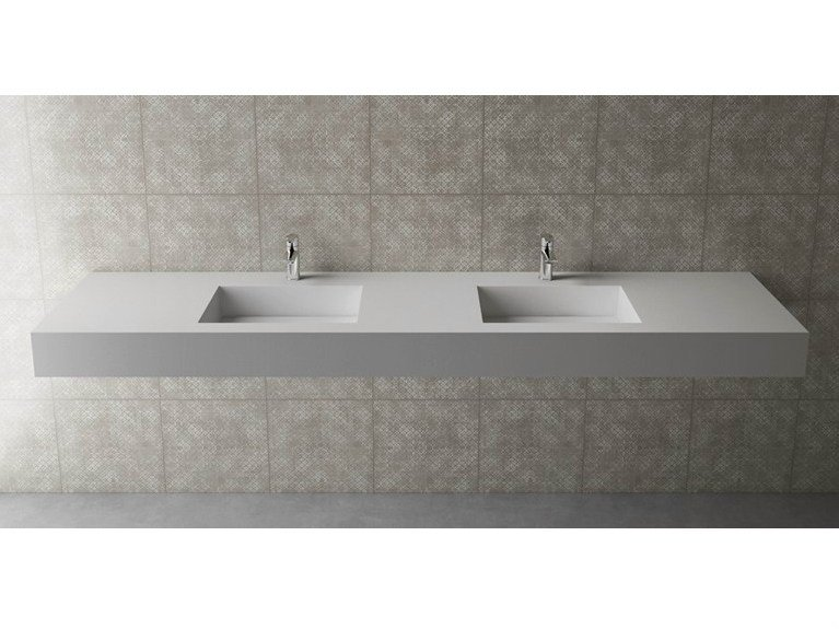 Double rectangular wall-mounted washbasin BOX 150 B453 DOPPIO - Flora Style