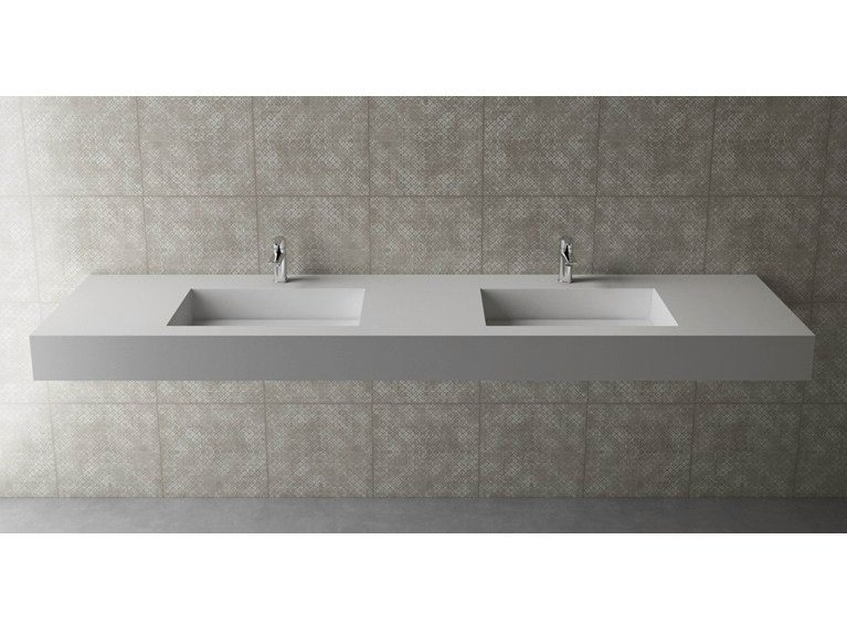 Double rectangular wall-mounted washbasin BOX 150 B454 DOPPIO - Flora Style