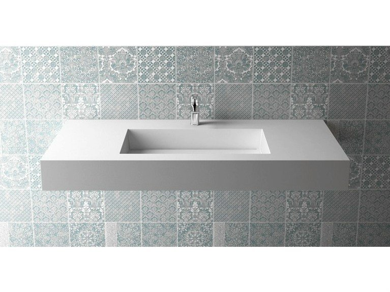 Rectangular wall-mounted washbasin BOX 150 B455 - Flora Style