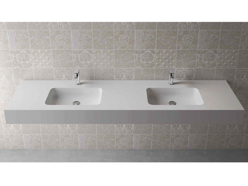 Rectangular wall-mounted washbasin with integrated countertop BOX 150 MK 50 DOPPIO - Flora Style