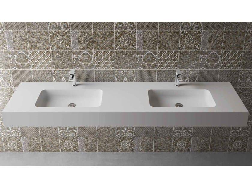 Rectangular wall-mounted washbasin with integrated countertop BOX 150 MK 58 DOPPIO - Flora Style