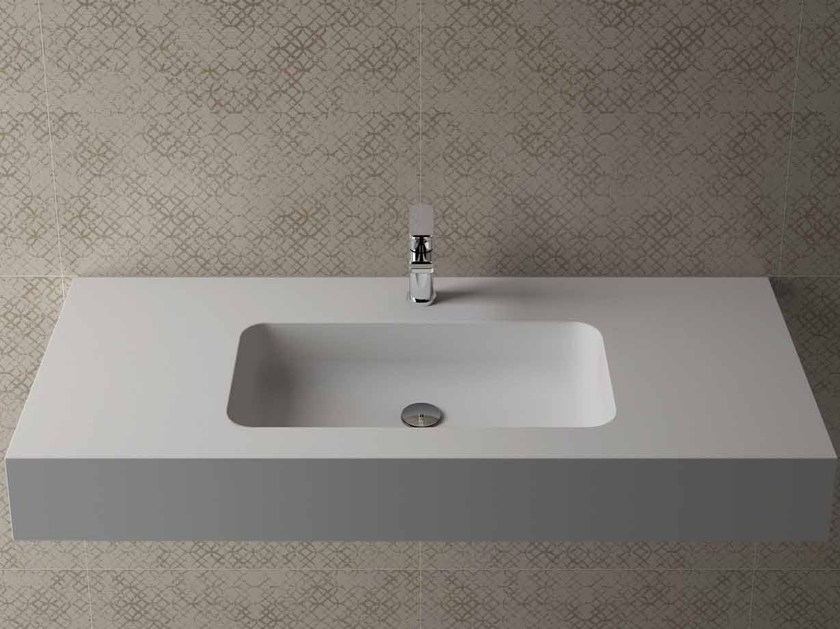 Rectangular wall-mounted washbasin with integrated countertop BOX 150 MK 58 - Flora Style