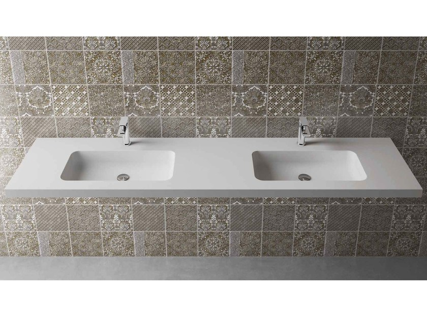 Rectangular wall-mounted washbasin with integrated countertop BOX 50 MK 58 DOPPIO - Flora Style
