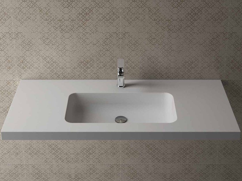 Rectangular wall-mounted washbasin with integrated countertop BOX 50 MK 58 - Flora Style