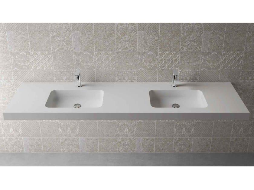 Rectangular wall-mounted washbasin with integrated countertop BOX 75 MK 50 DOPPIO - Flora Style