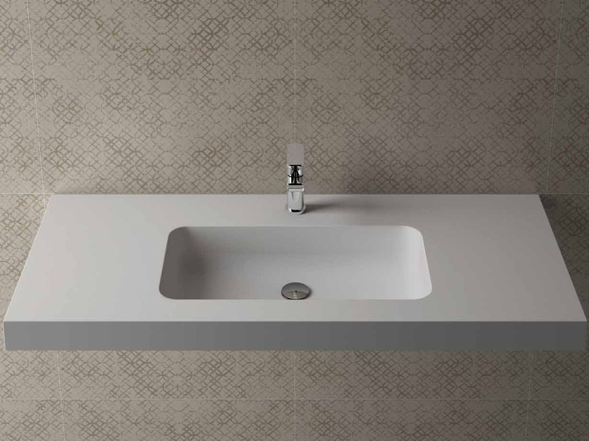 Rectangular wall-mounted washbasin with integrated countertop BOX 75 MK 58 - Flora Style