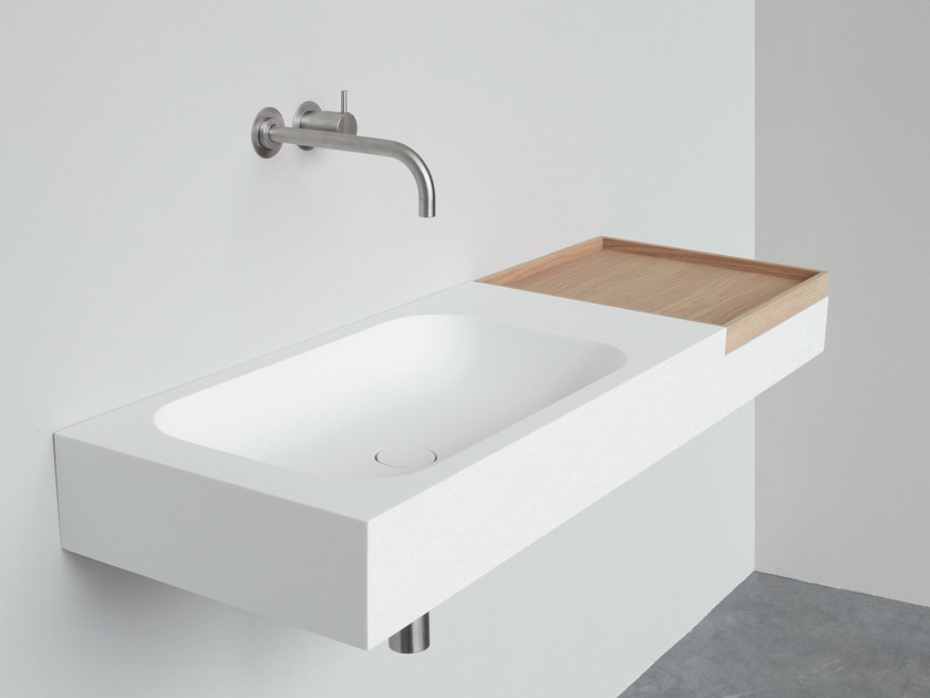 Rectangular wall-mounted HI-MACS® washbasin BOX | Wall-mounted washbasin - Not Only White