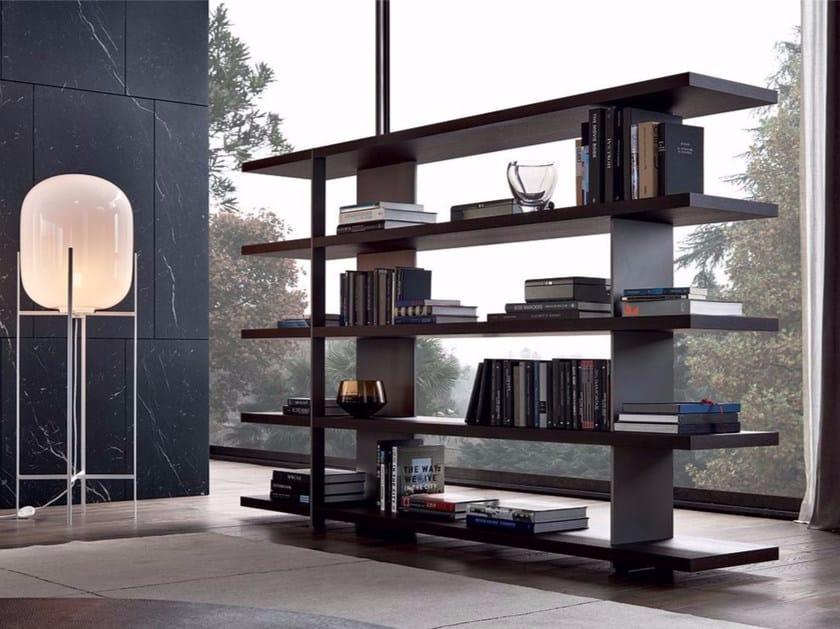 Open double-sided wood veneer bookcase BRISTOL | Bookcase by poliform