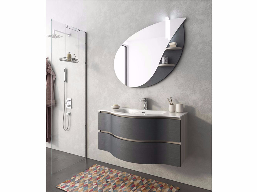 Lacquered wall-mounted vanity unit with drawers BROADWAY B14 - LEGNOBAGNO