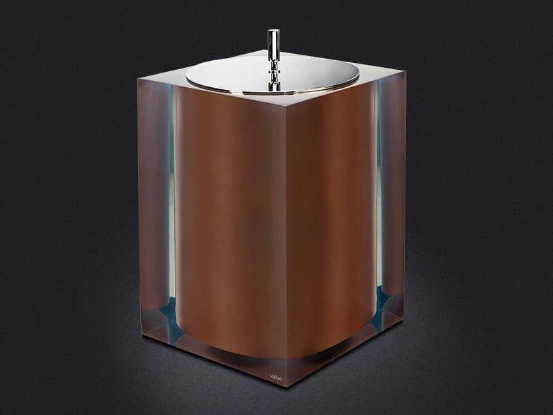Resin bathroom waste bin BRONZE GLOSS | Bathroom waste bin - Vallvé Bathroom Boutique