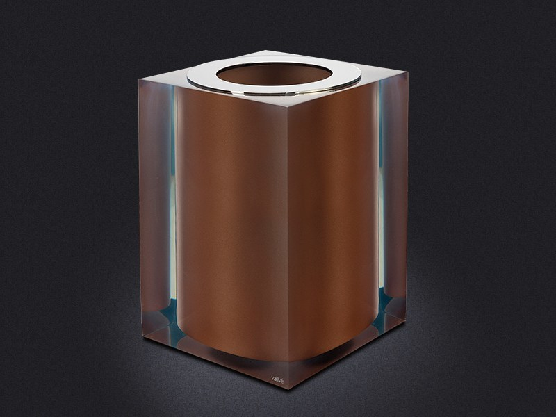 Resin bathroom waste bin BRONZE GLOSS | Resin bathroom waste bin - Vallvé Bathroom Boutique