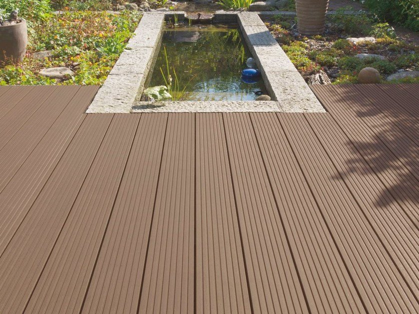Composite material outdoor floor tiles with wood effect EXTERNO BROWN HONEYCOMB by Woodco