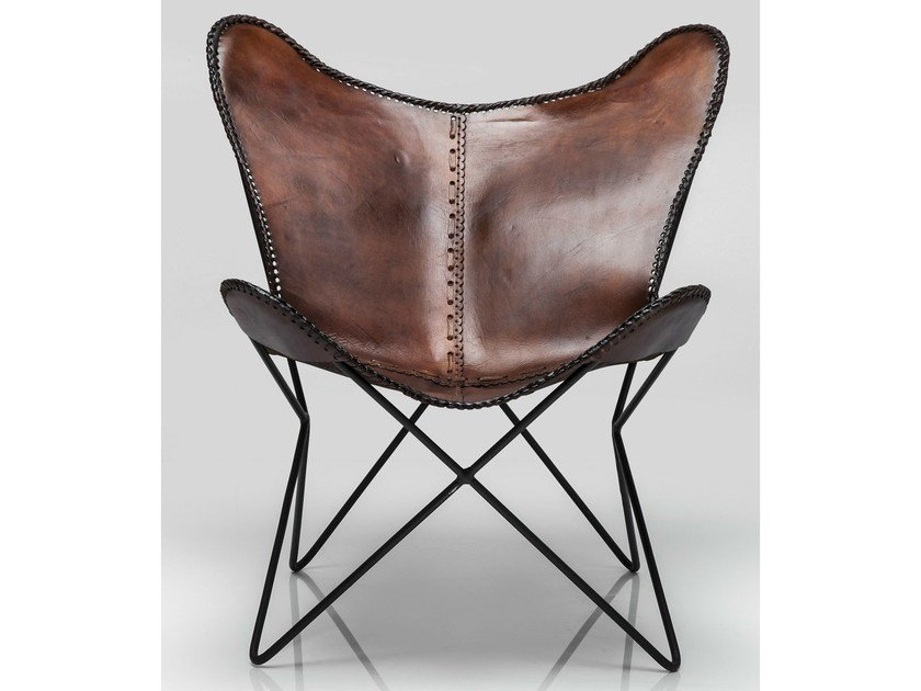 Leather armchair BUTTERFLY BROWN ECO - KARE-DESIGN