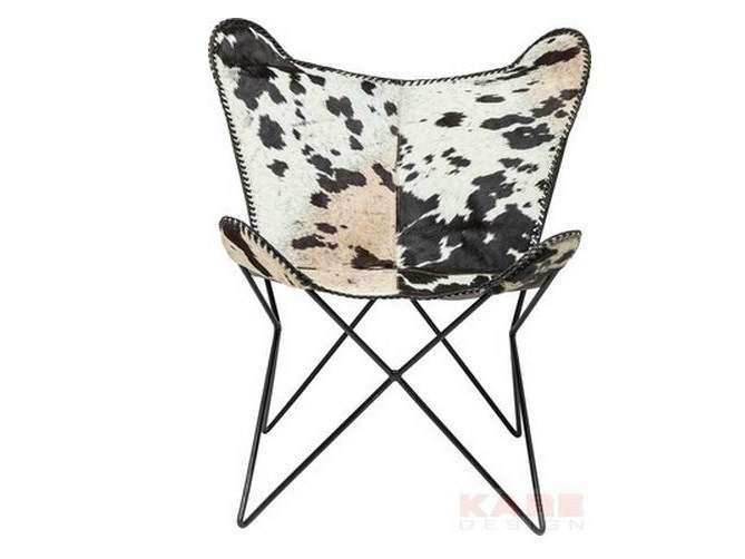 Classic style cowhide armchair BUTTERFLY COW RIVET by KARE-DESIGN