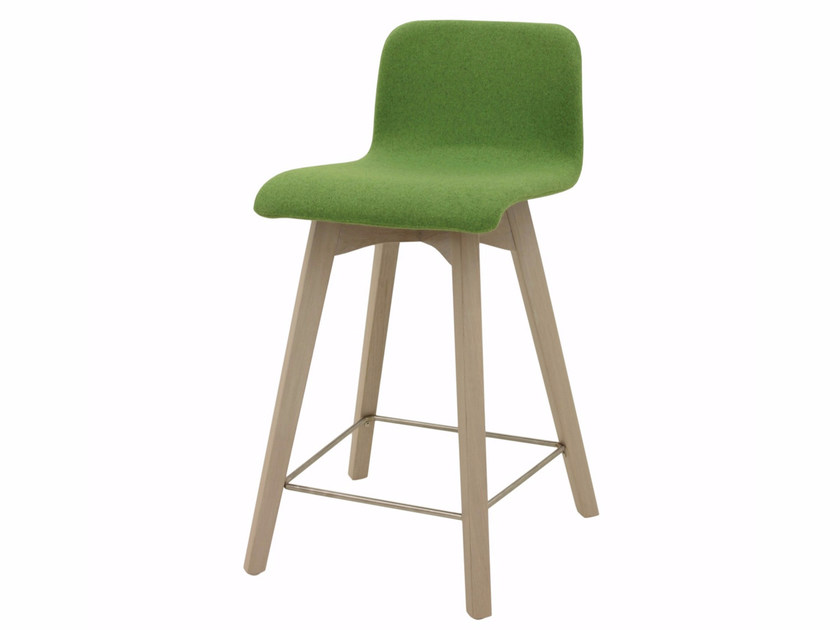 Upholstered fabric counter stool with footrest BUZZY 03 KL62 - Z-Editions