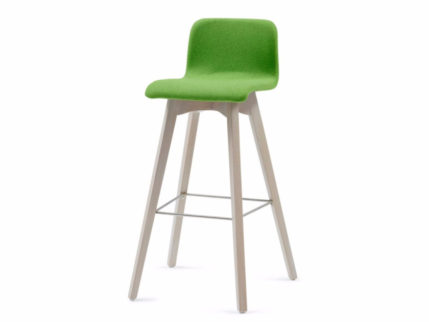 Upholstered fabric counter stool with footrest BUZZY 03 KL82 - Z-Editions