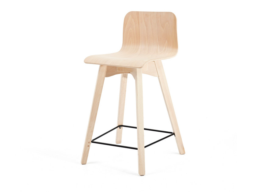 Wooden counter stool with footrest BUZZY KL62 - Z-Editions