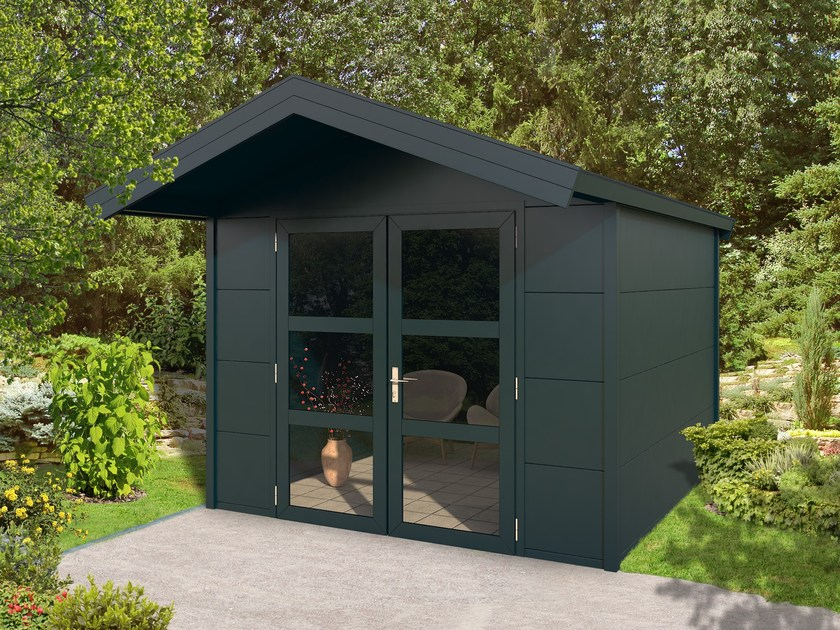 Aluminium Garden shed Outdoor cabin with saddled roof by Gardendreams
