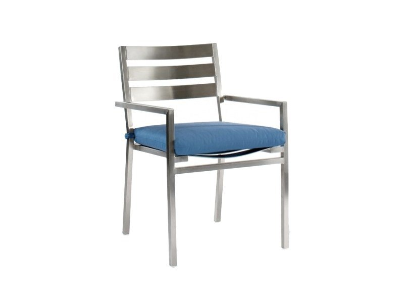 Stainless steel chair with armrests CABO | Chair with armrests - 7OCEANS DESIGNS