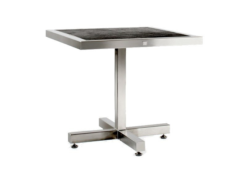 Square stainless steel table with 4-star base CABO | Table with 4-star base by 7OCEANS DESIGNS