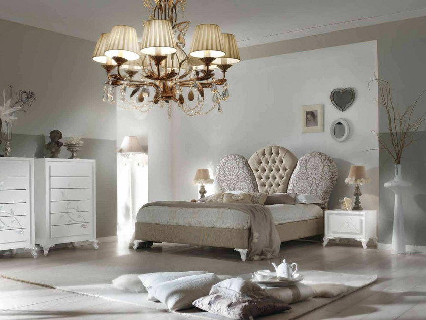 Double bed with upholstered headboard CAMELIA | Upholstered bed - Arvestyle