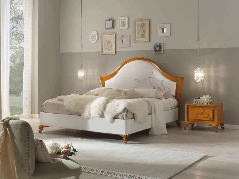 Double bed with upholstered headboard CAMELIA | Double bed by Arvestyle