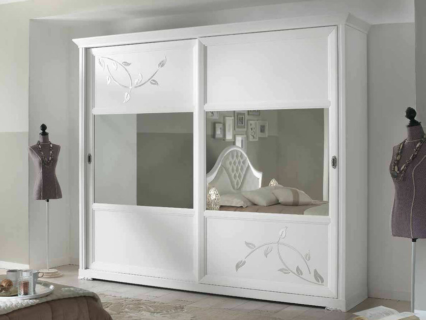 Solid wood wardrobe with sliding doors CAMELIA | Wardrobe - Arvestyle