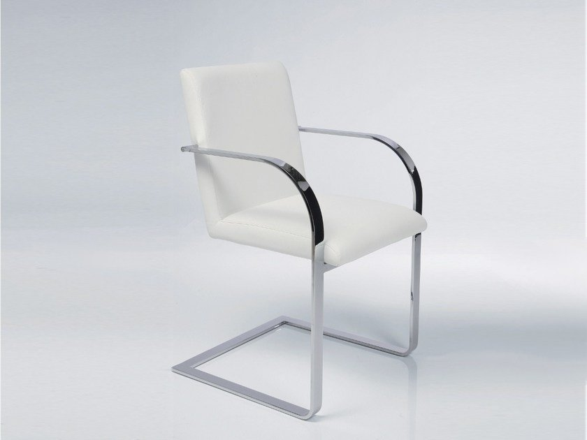Cantilever upholstered fabric easy chair with armrests CANDODO WHITE - KARE-DESIGN