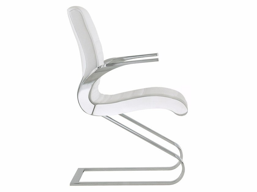 Cantilever upholstered chair with armrests SYNCHRONY | Cantilever chair - Luxy