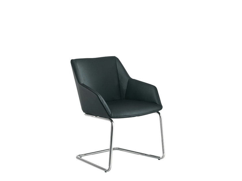 Cantilever leather reception chair DAMA PLAIN | Cantilever chair - Sesta