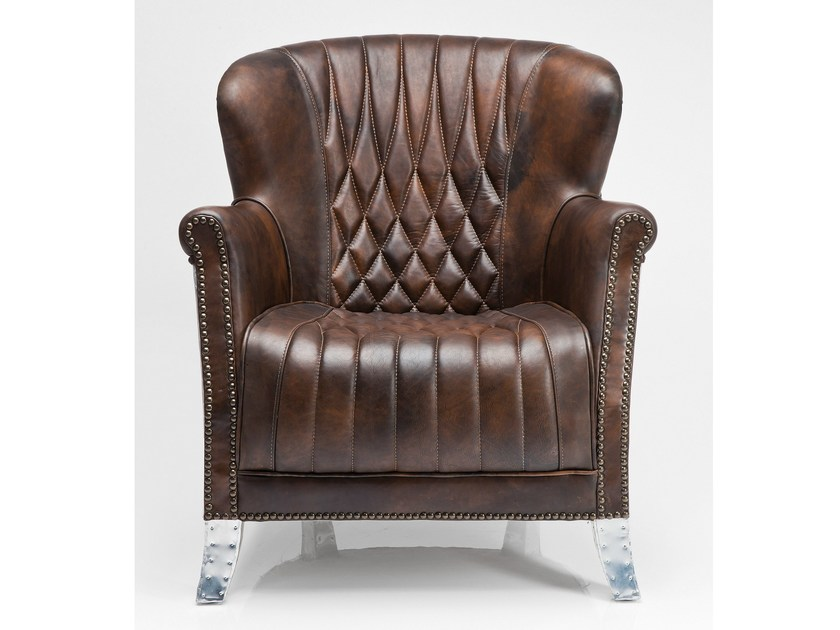 Cowhide armchair with armrests CAPTAIN - KARE-DESIGN
