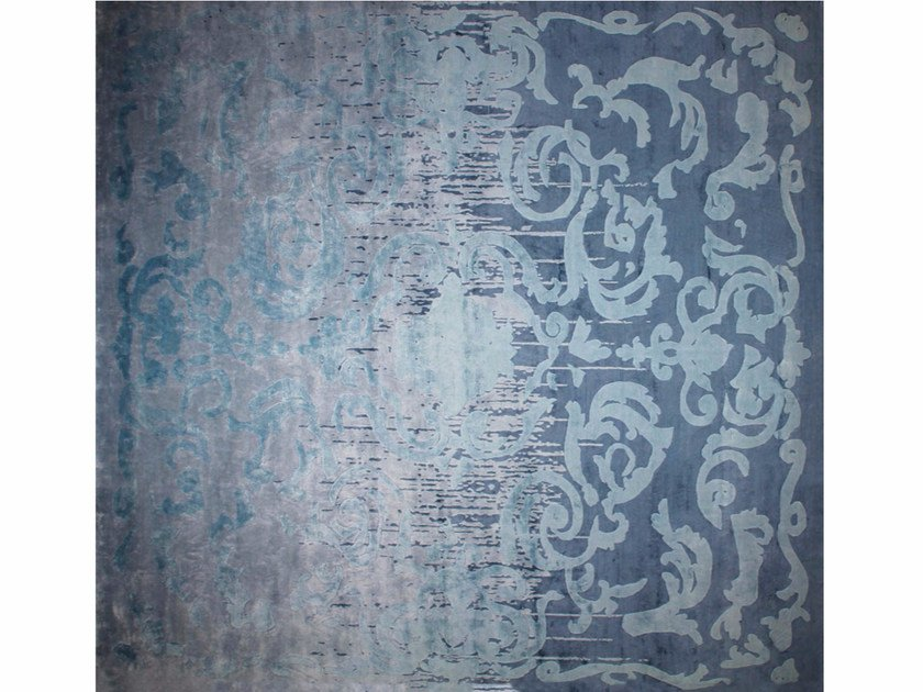 Patterned handmade rectangular rug CARDINAL SHADOW VINTAGE BLUE - EDITION BOUGAINVILLE