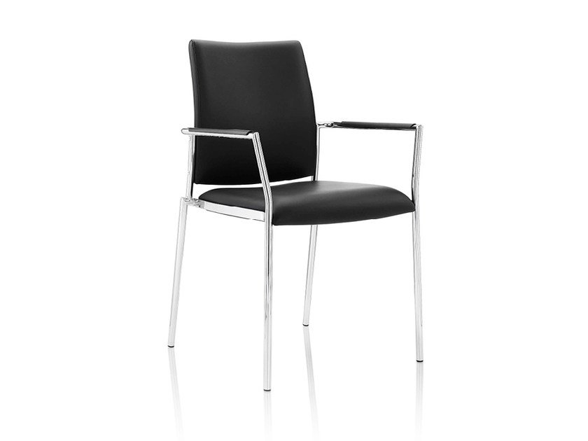 Upholstered leather chair with armrests CARLO | Leather chair - Boss Design