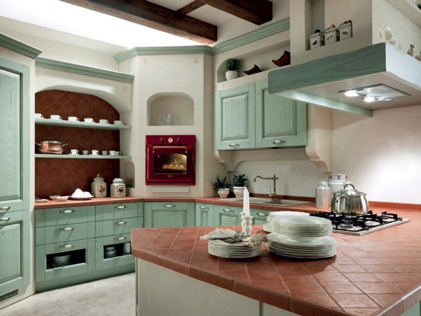 Cucina componibile in frassino carmen cucina in stile country floritelli cucine - Cucine stile country chic ...