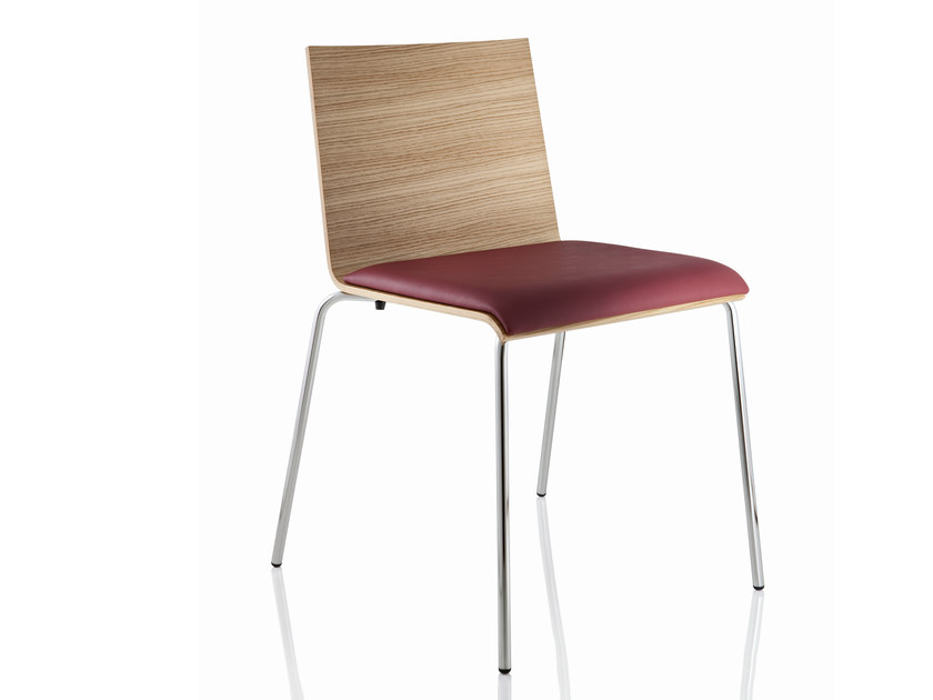 Upholstered stackable wooden chair CASABLANCA | Stackable chair - ALMA DESIGN