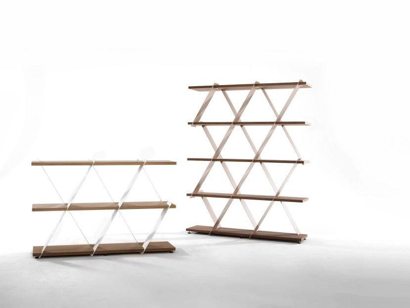 Open freestanding double-sided wooden bookcase CASTLE by Tonin Casa