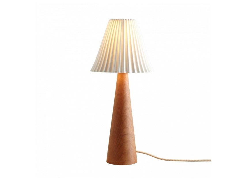 Cherry wood table lamp with fixed arm with dimmer CECIL CONE | Cherry wood table lamp - Original BTC